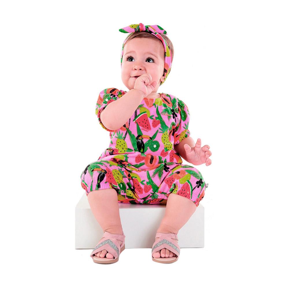 Macacão Tropical Rosa com Faixinha Up Baby
