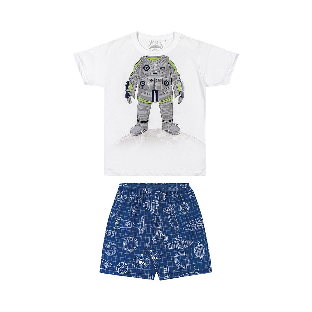 Pijama Astronauta Branco Brilha no Escuro