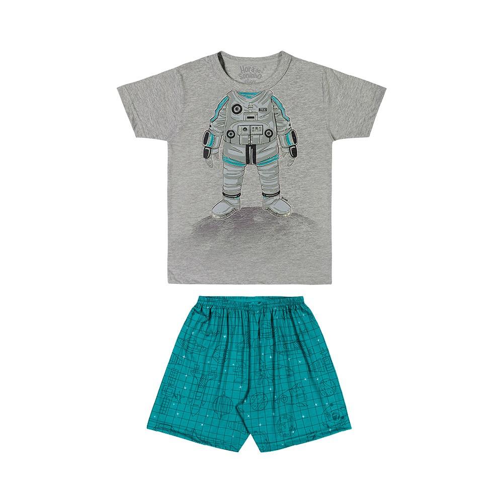 Pijama Astronauta Cinza Brilha no Escuro