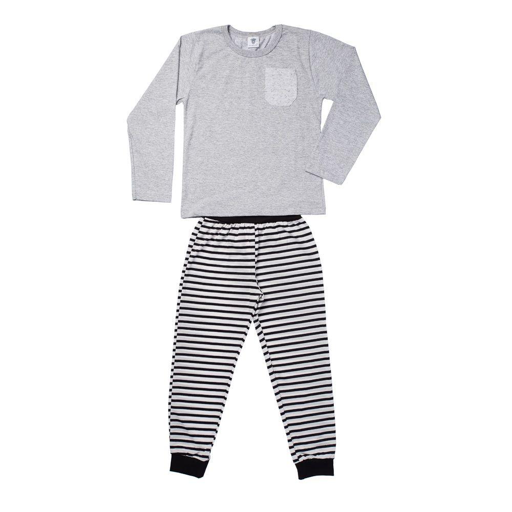 Pijama Boy Listras Cinza Mescla ML