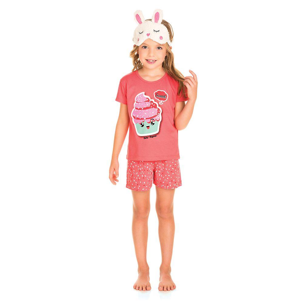 Pijama Curto Cupcake Coral Brilha no Escuro