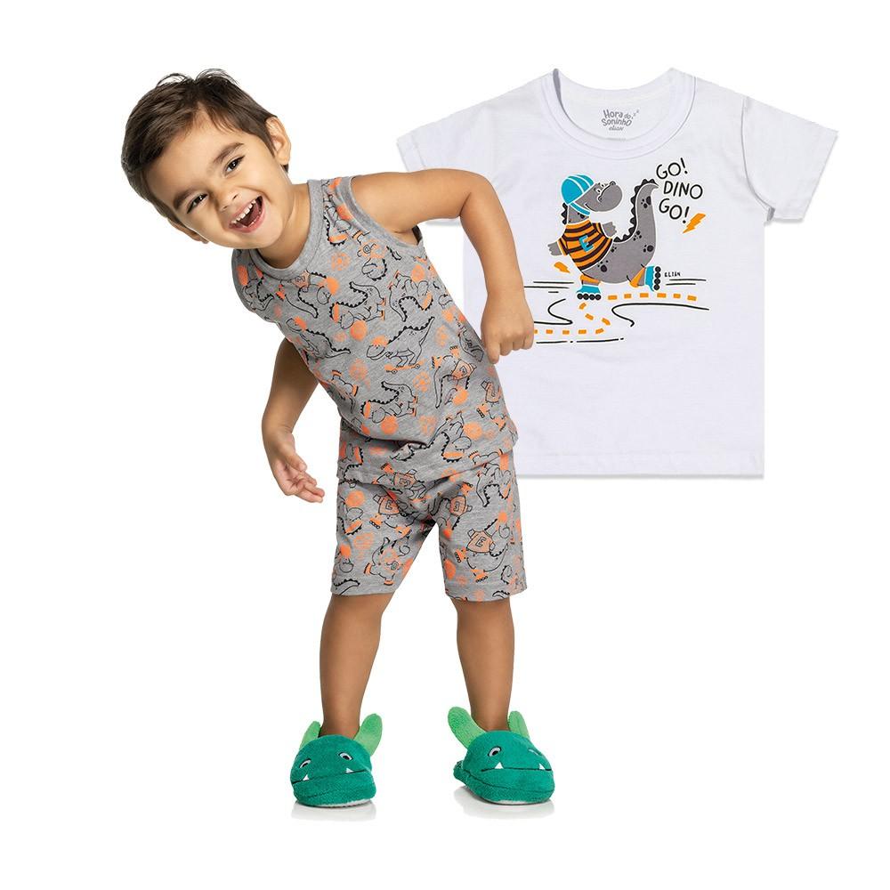 Pijama Dino 3 Peças - Brilha no escuro