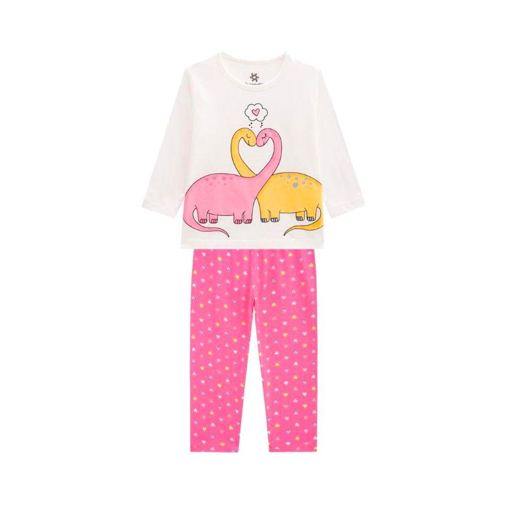 Pijama Dino Corações Creme