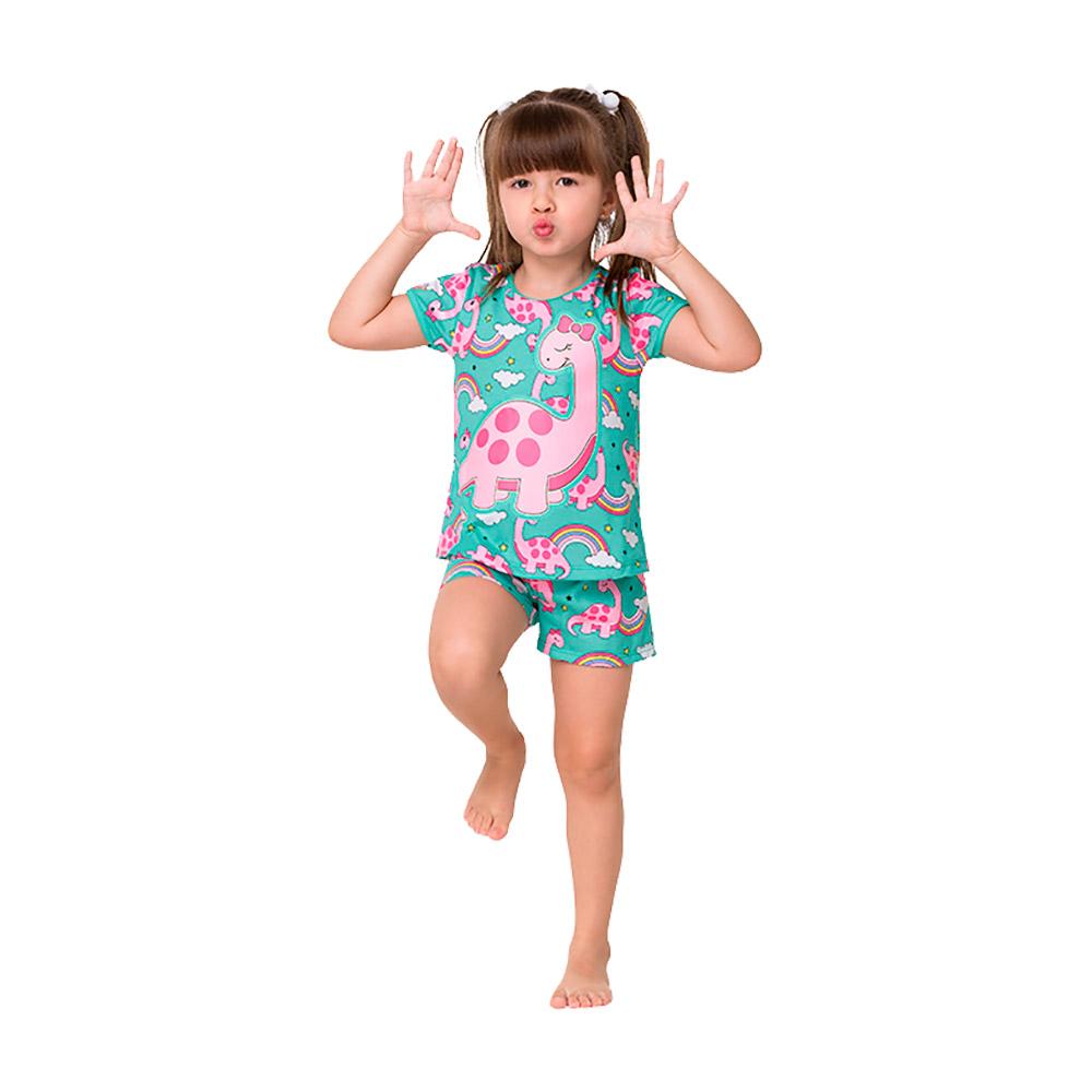 Pijama Dino Verde Kyly - Brilha no Escuro / Proteção Anti Mosquito