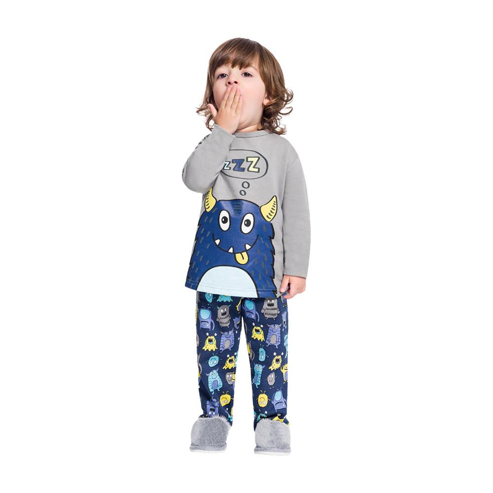 Pijama  em Moletom Monstrinho Dorminhoco Azul