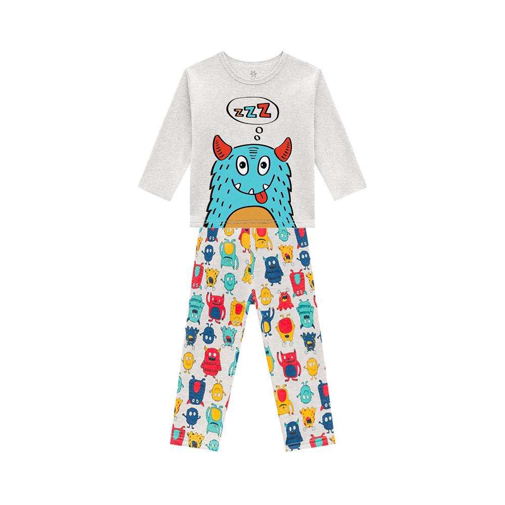 Pijama em Moletom Monstrinho Dorminhoco Mescla
