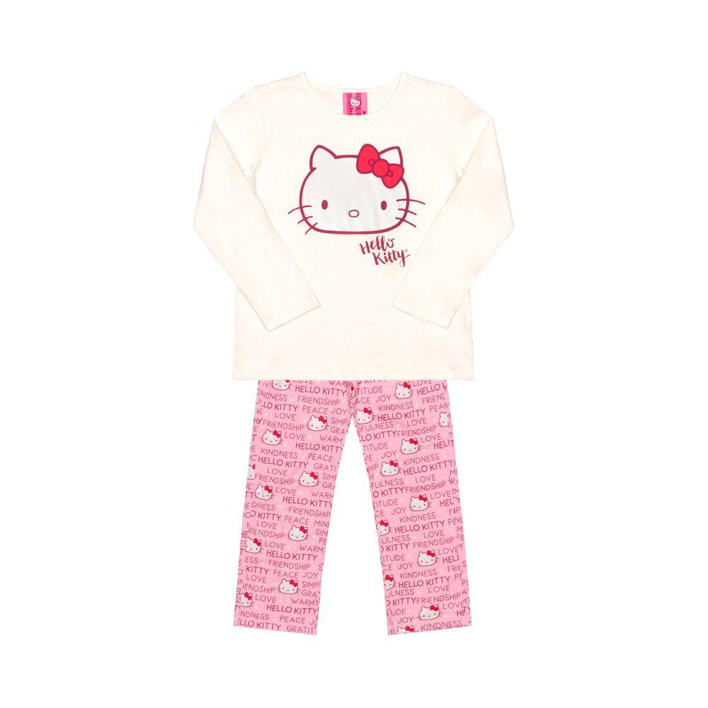 Pijama Hello Kitty Creme e Rosa
