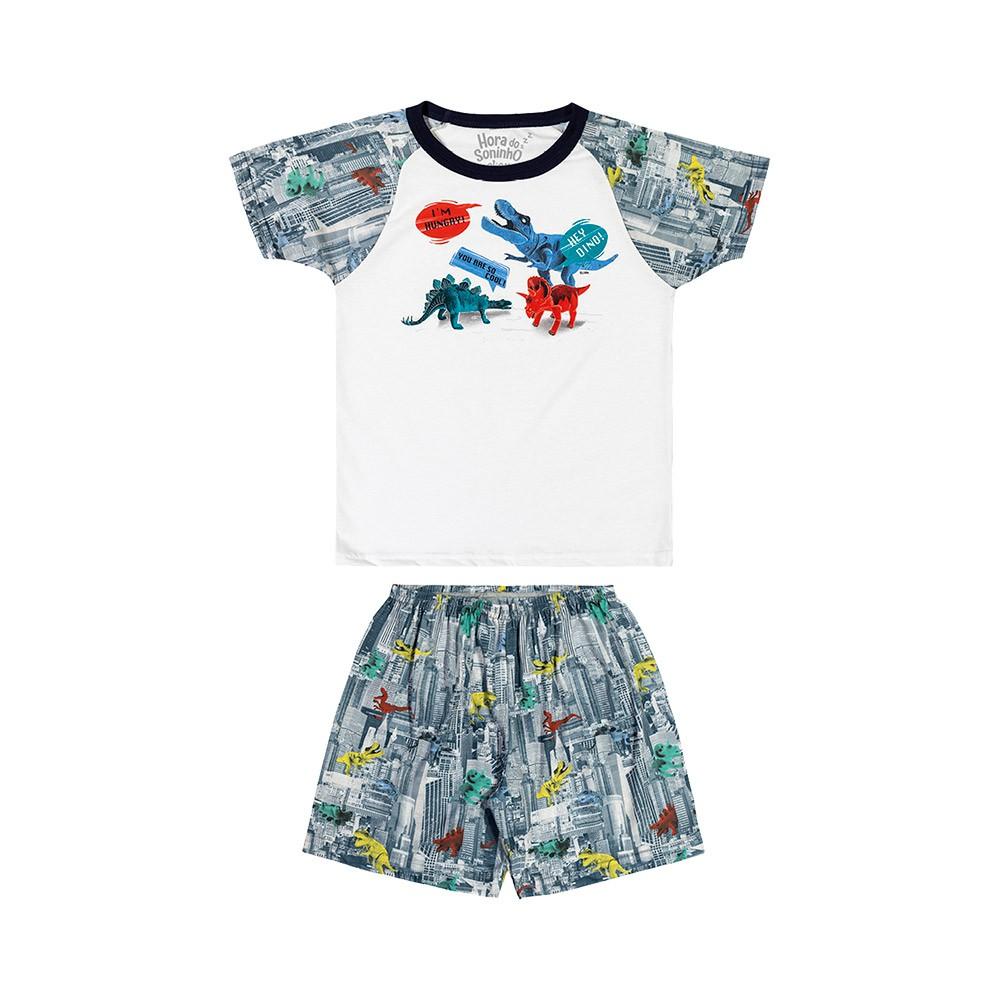 Pijama Hey Dino com Estampa e Cartela de Tatuagem que Brilham no Escuro