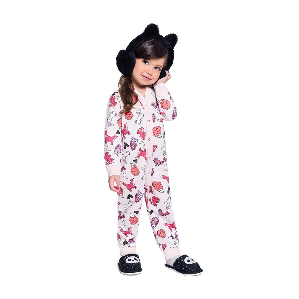 Pijama Macacão Bichos Rosa
