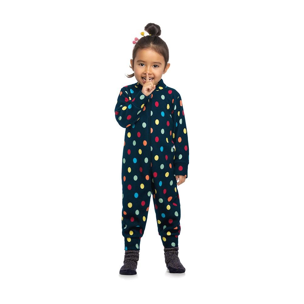 Pijama Macacão Bolas em Moletom Peluciado