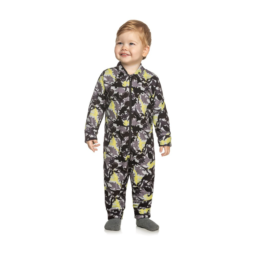 Pijama Macacão Dino em Moletom Peluciado