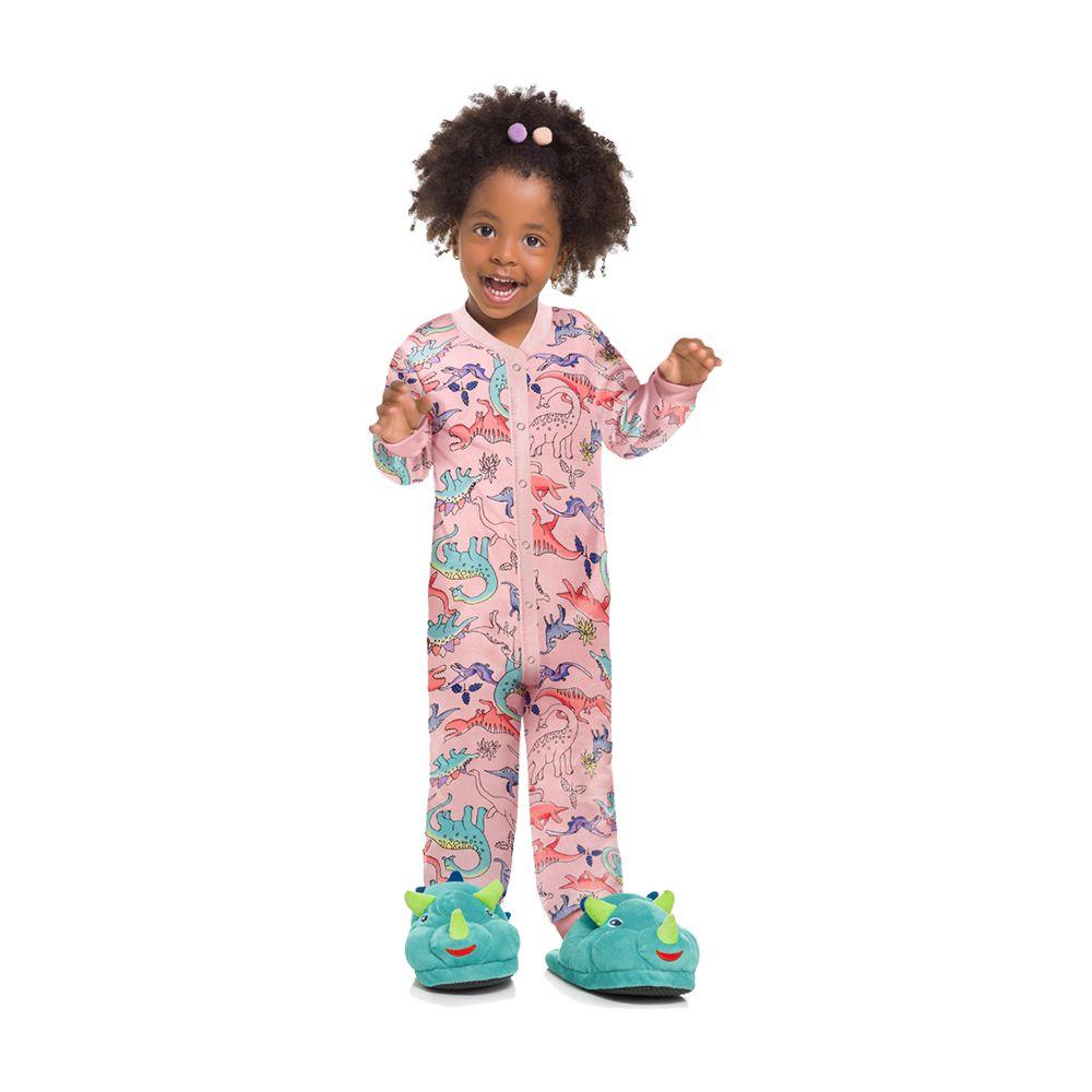 Pijama Macacão Dino Rosa