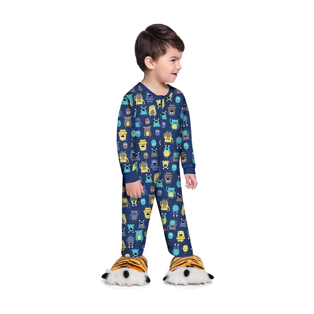 Pijama Macacão Monstrinhos Azul