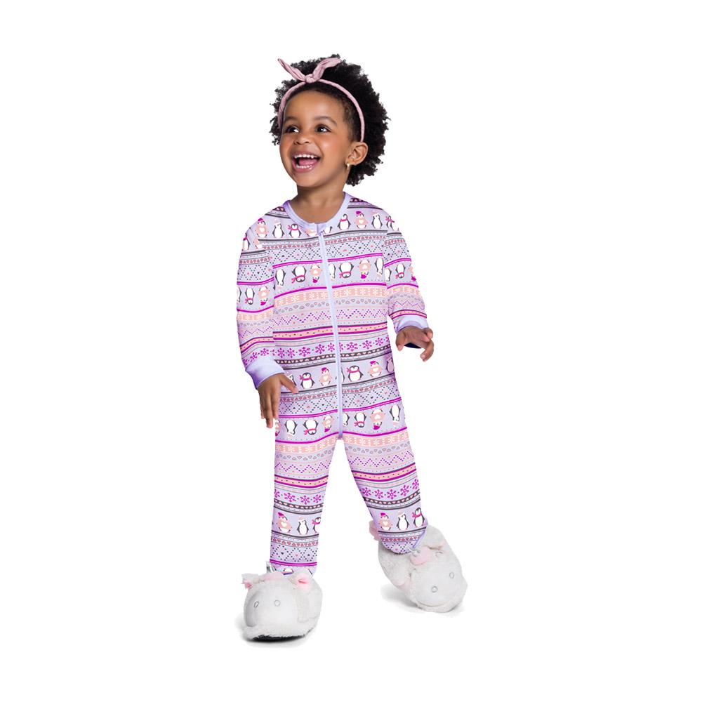 Pijama Macacão Pinguim Lilás