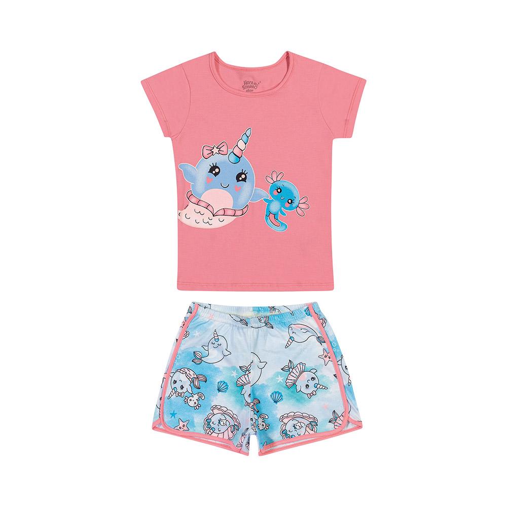Pijama Mermaid Rosa - Brilha no escuro