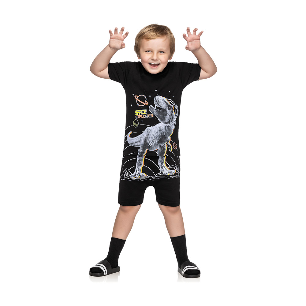 Pijama Space Dino Preto  - Brilha no escuro