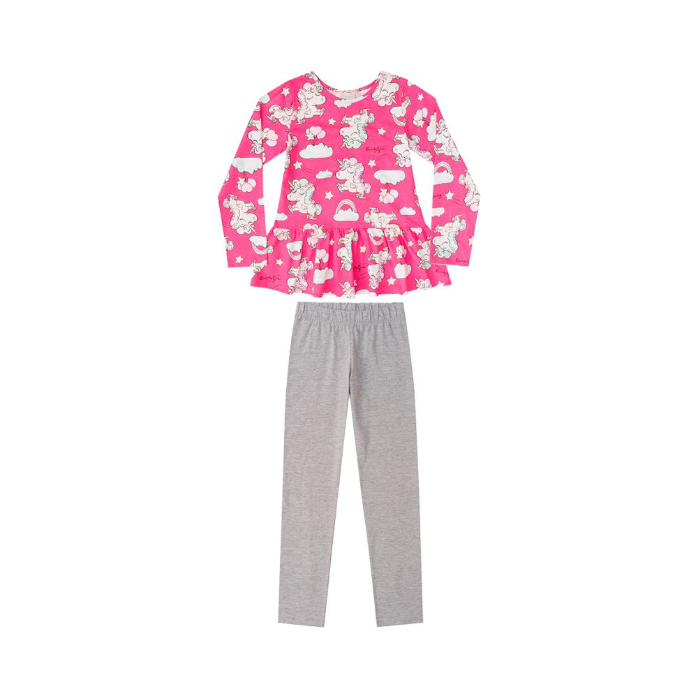 Pijama Unicórnio Babados Pink