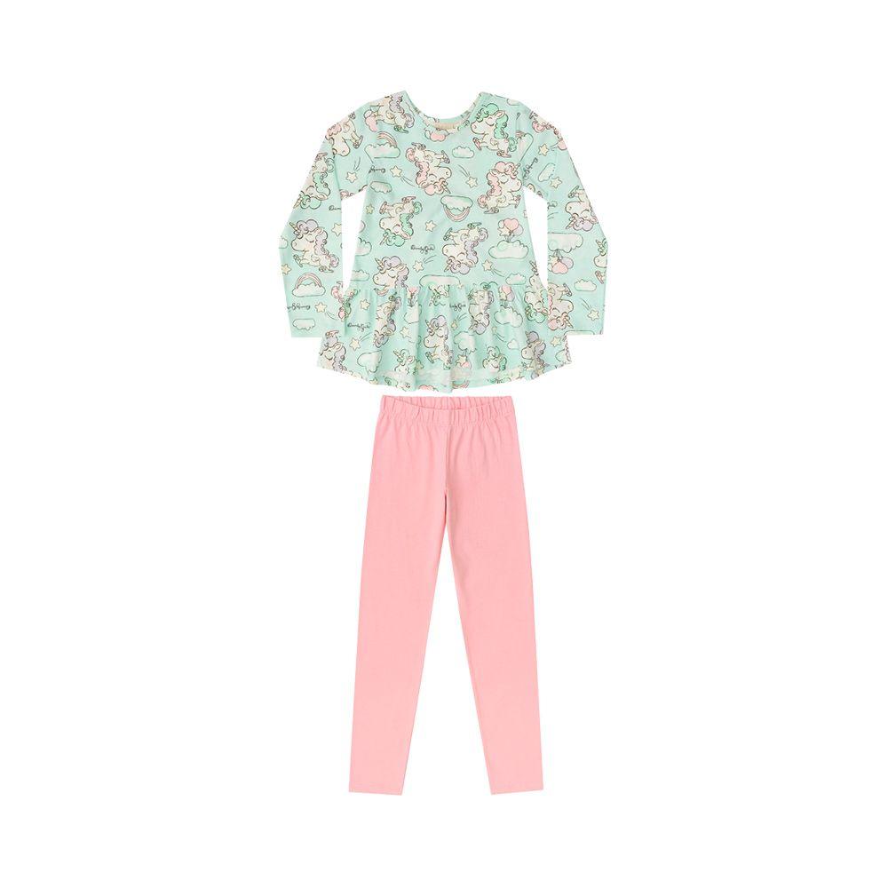 Pijama Unicórnio Babados Verde Água