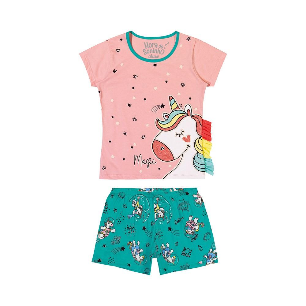 Pijama Unicórnio Colors Rosa Brilha no Escuro