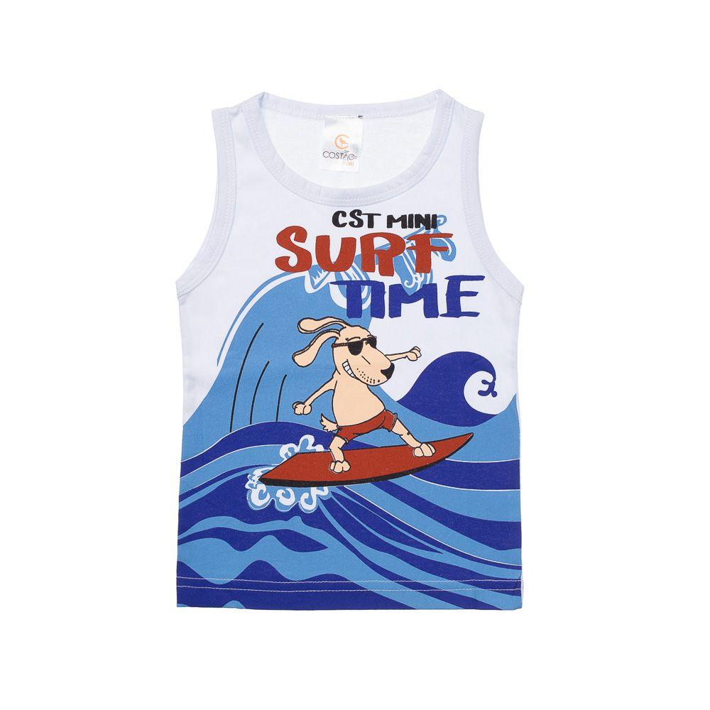 Regata Surf Time Cachorro Branca - Infantilitá 737fe27f24a