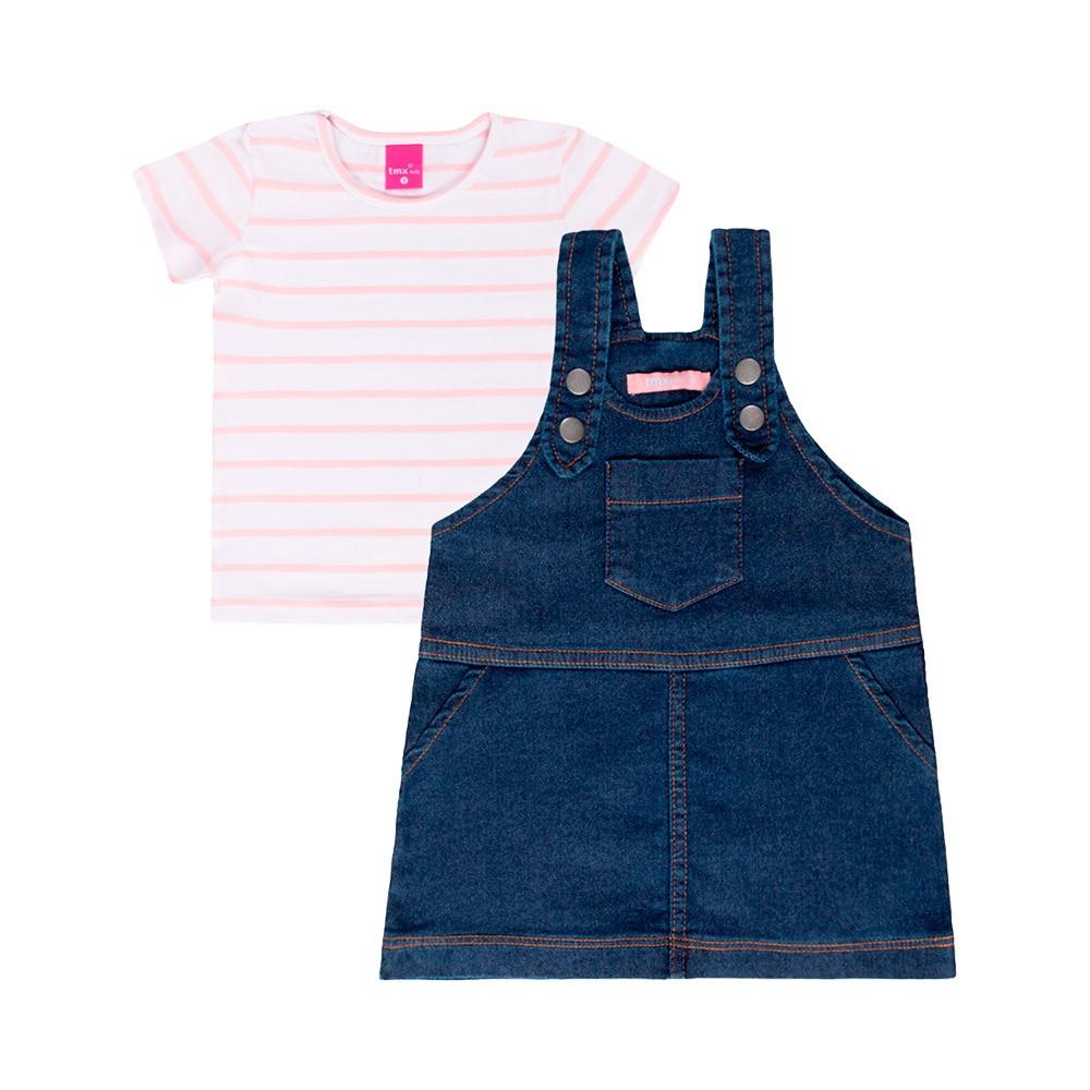Jardineira Jeans Escuro TMX com blusinha