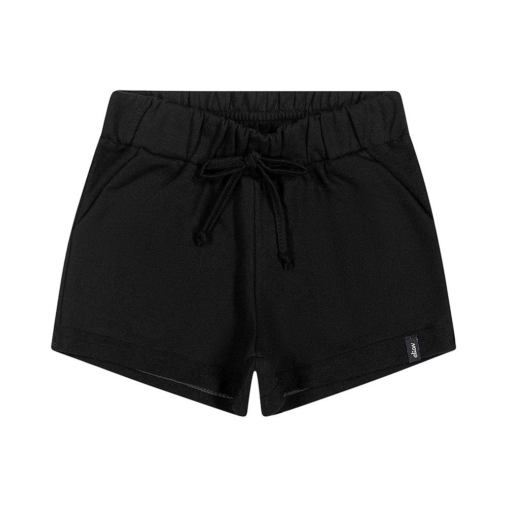 Shorts em Moletinho Preto