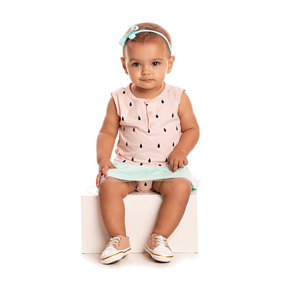 Vestido Body Baby Melancia com Tule