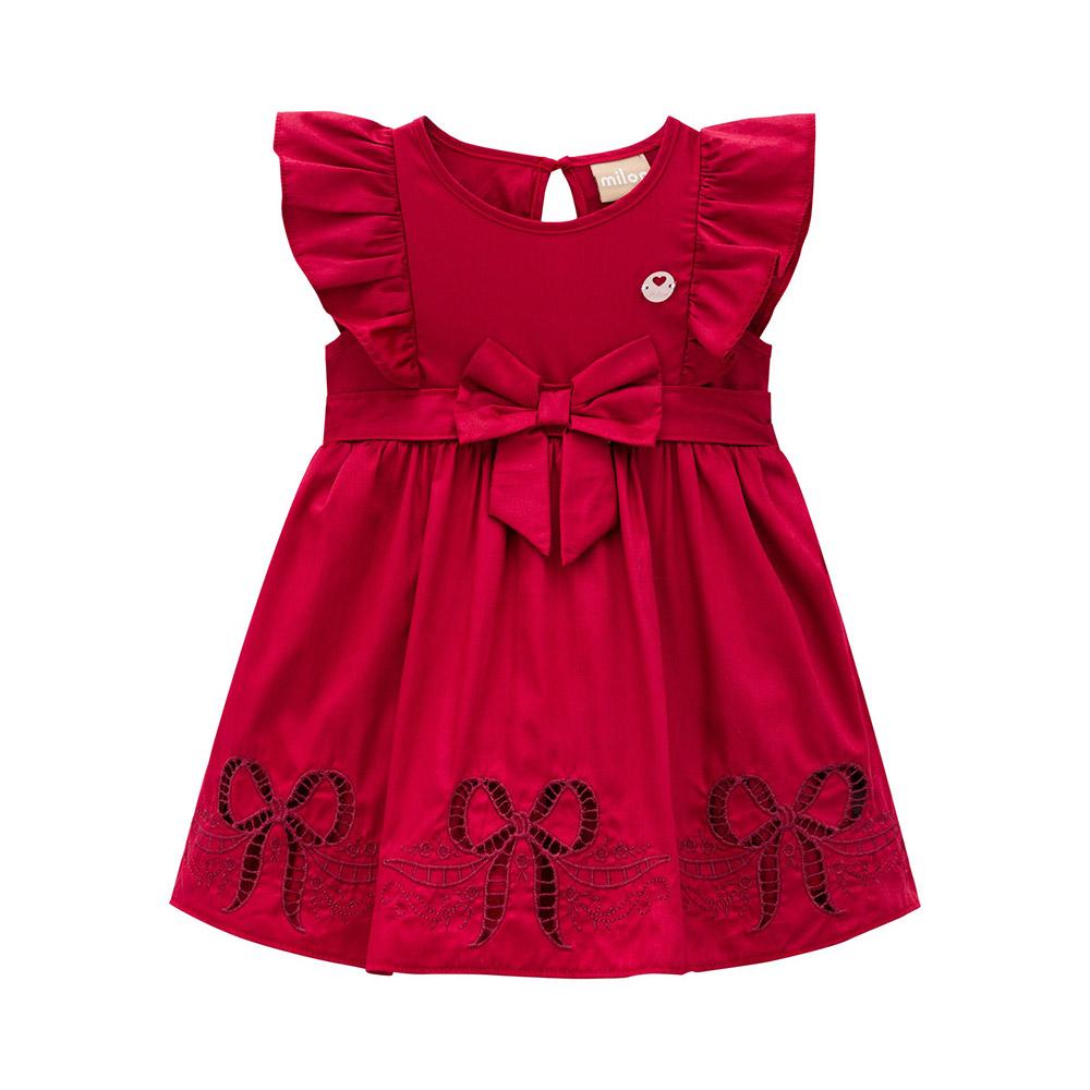 Vestido Bordado Laço Milon Vermelho