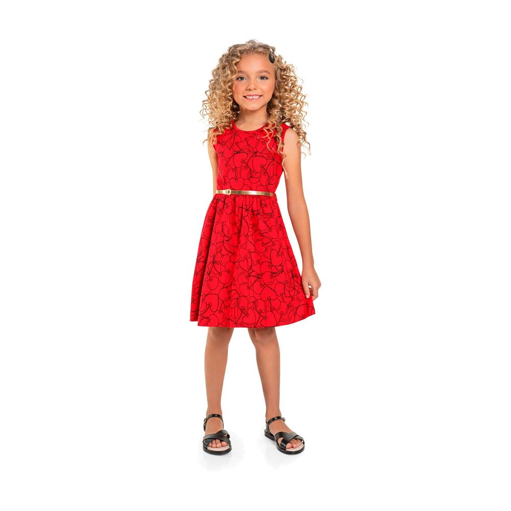 Vestido Cherry Vermelho com Cinto