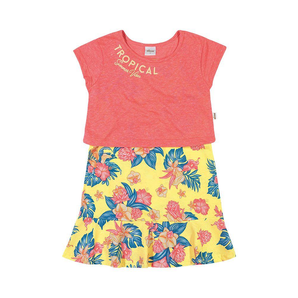 Vestido com Cropped Tropical Summer Amarelo