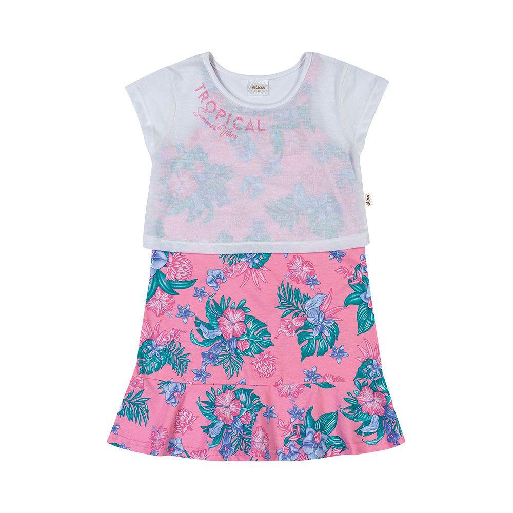 Vestido com Cropped Tropical Summer Rosa
