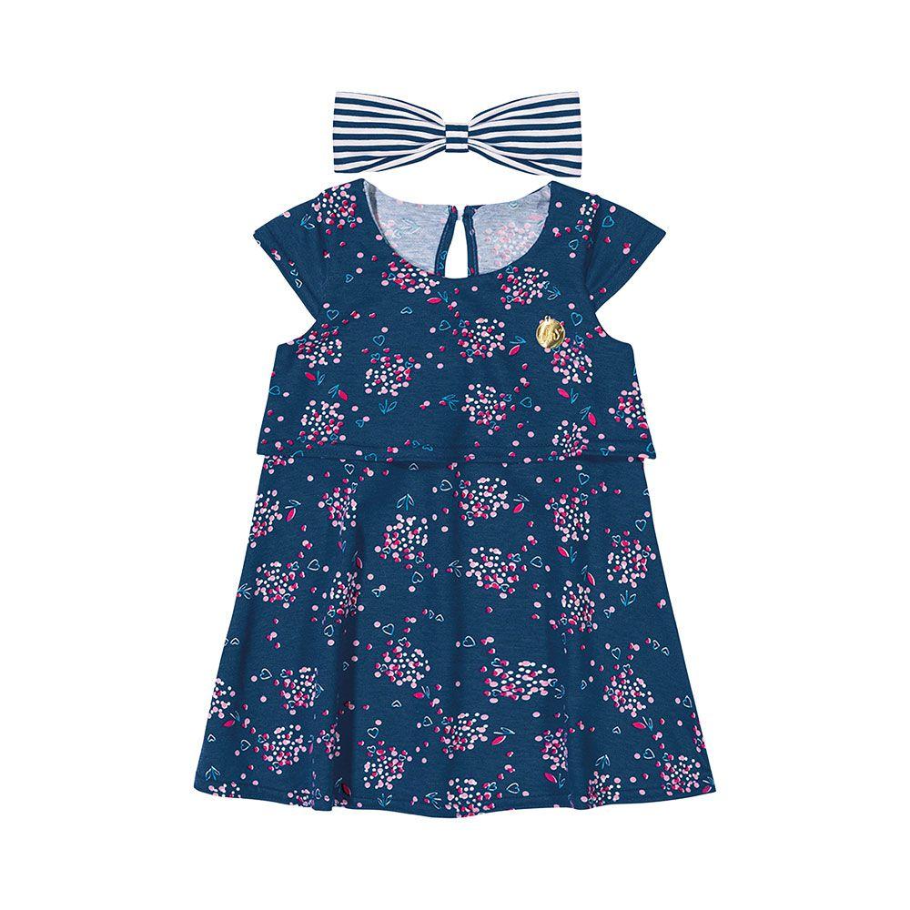 Vestido com Faixinha Flores Marinho