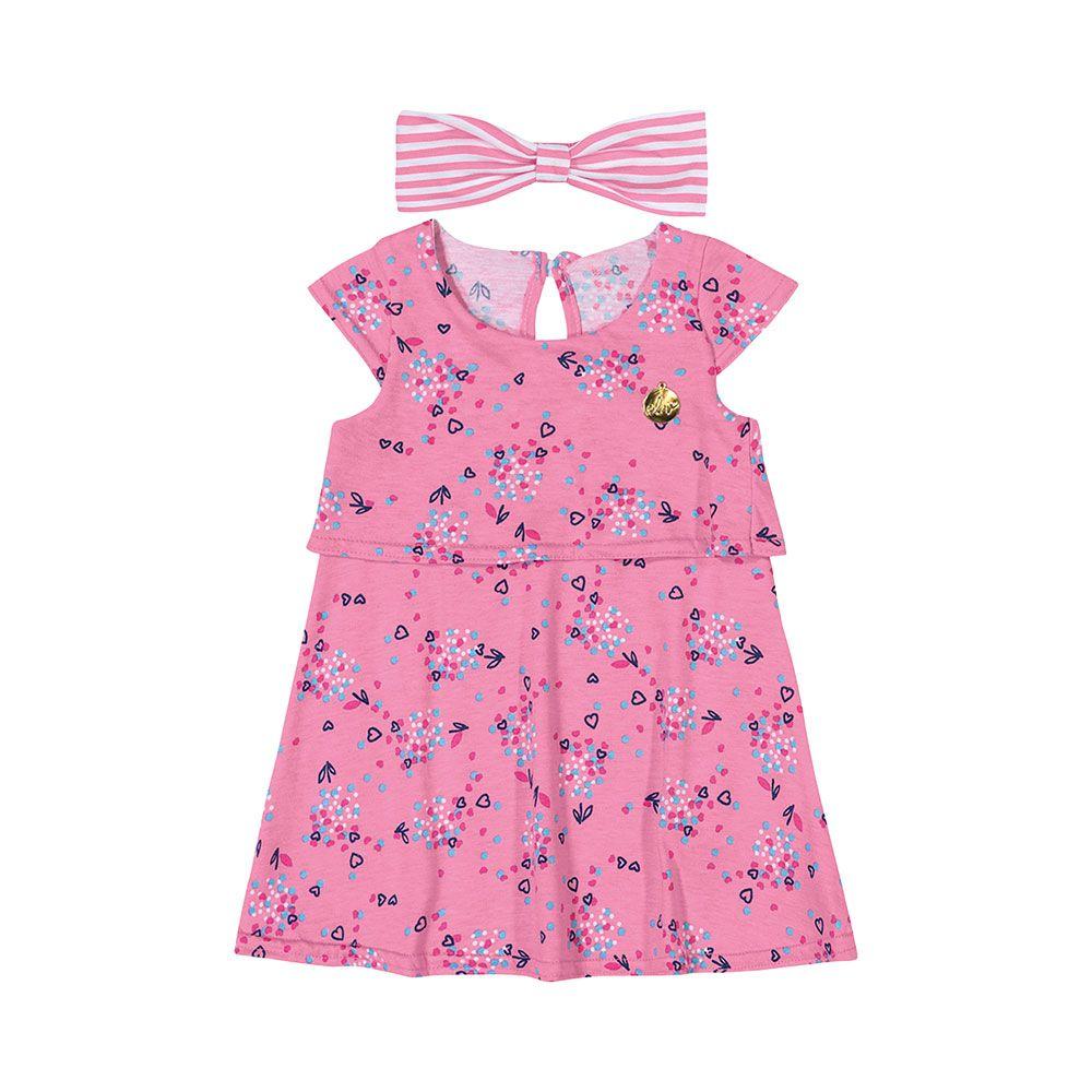 Vestido com Faixinha Flores Rosa