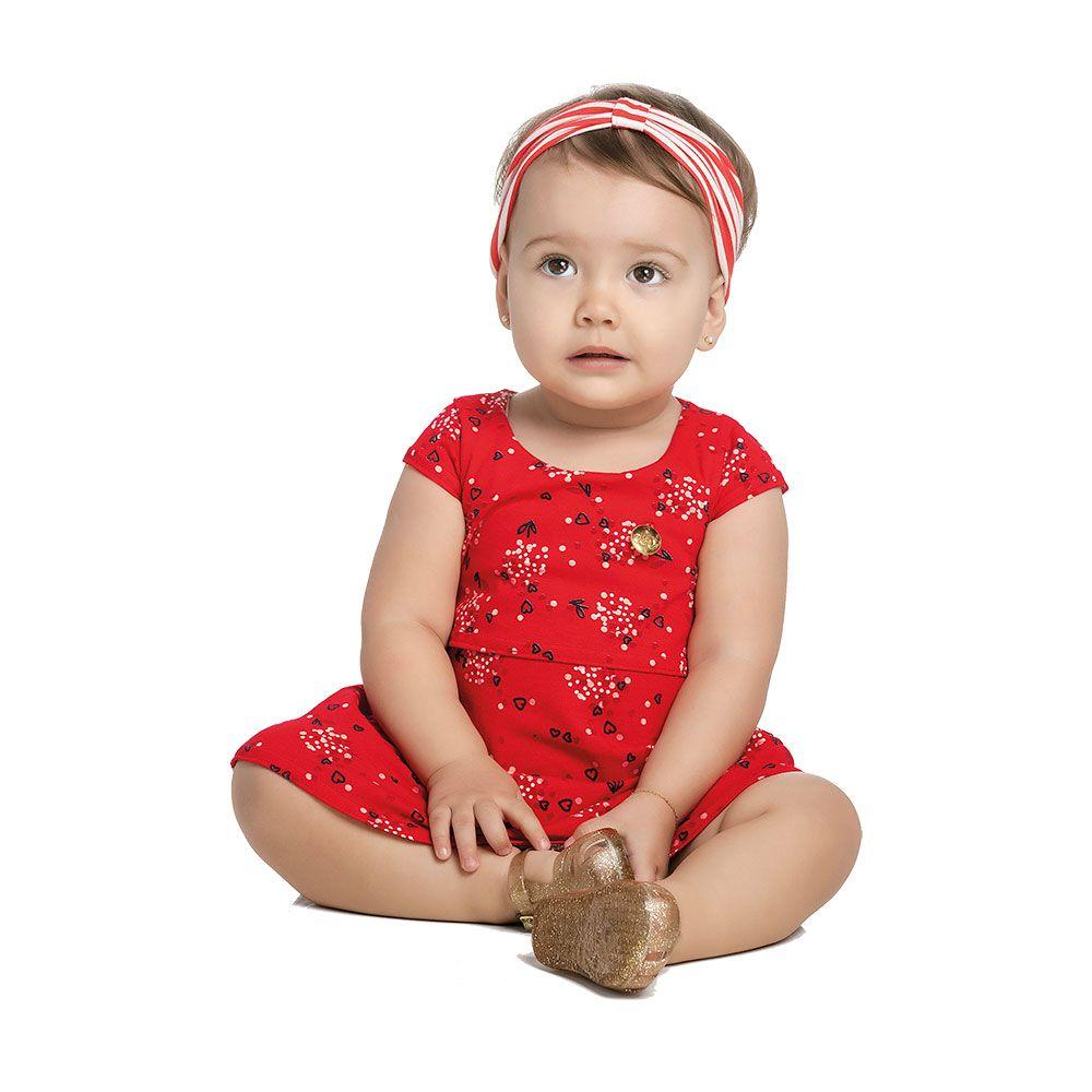 Vestido com Faixinha Flores Vermelho