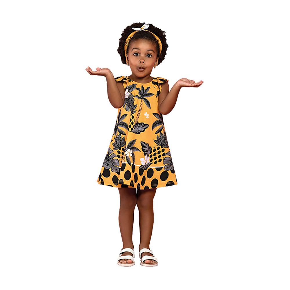Vestido Coqueiros Nanai Amarelo