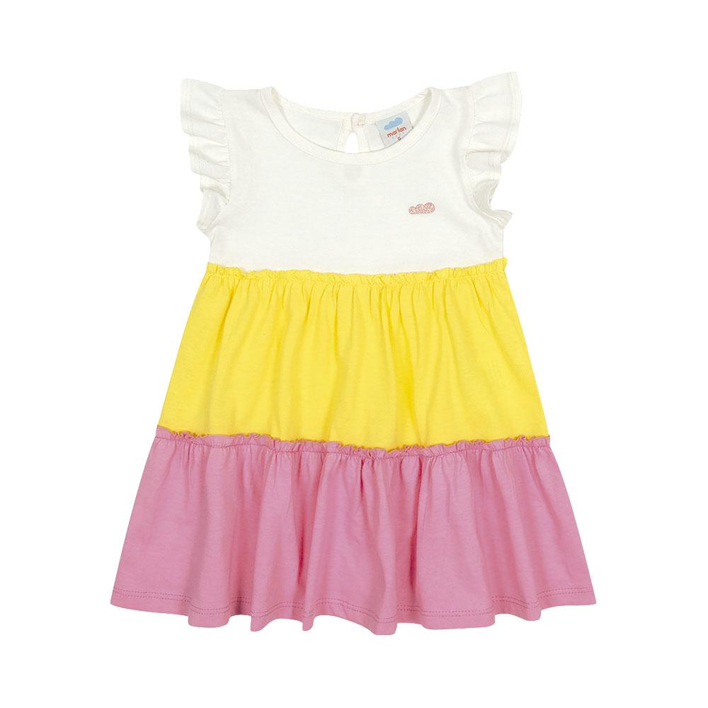Vestido Cores Marlan Amarelo e Rosa