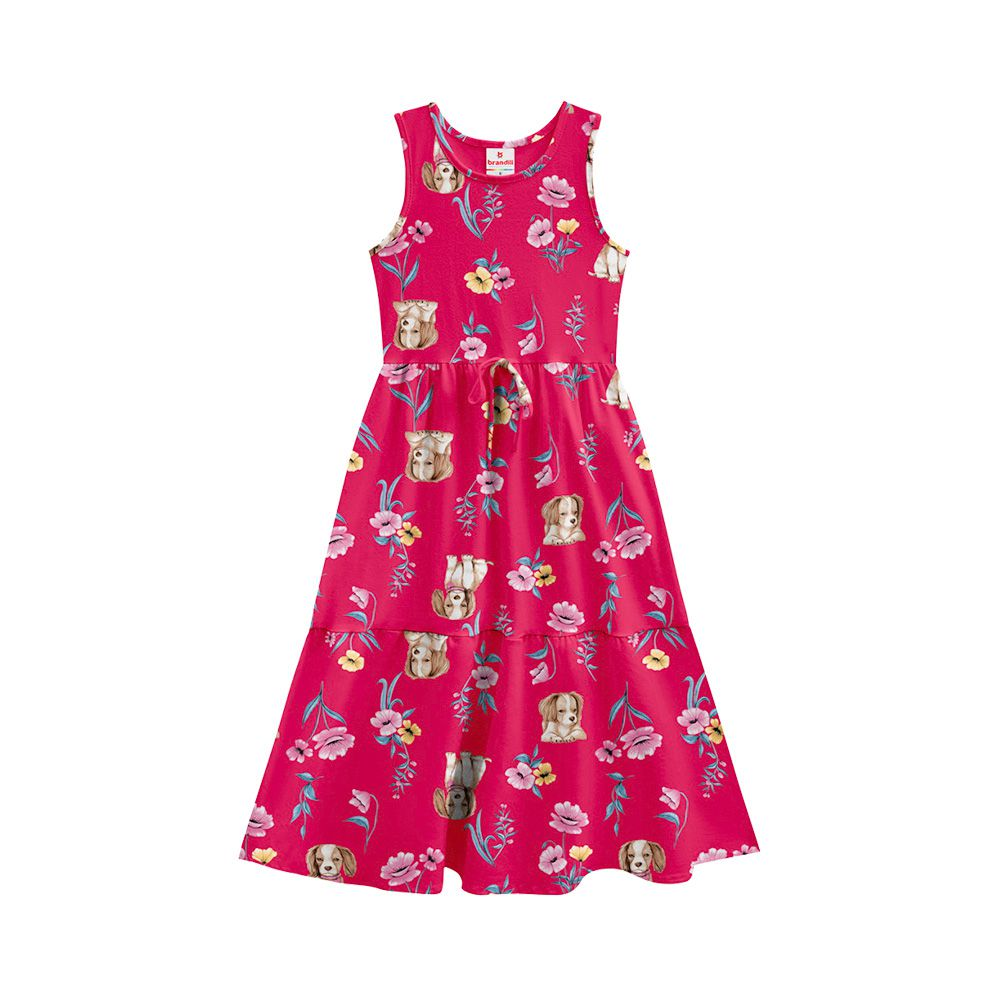 Vestido Dog Flower Rosa