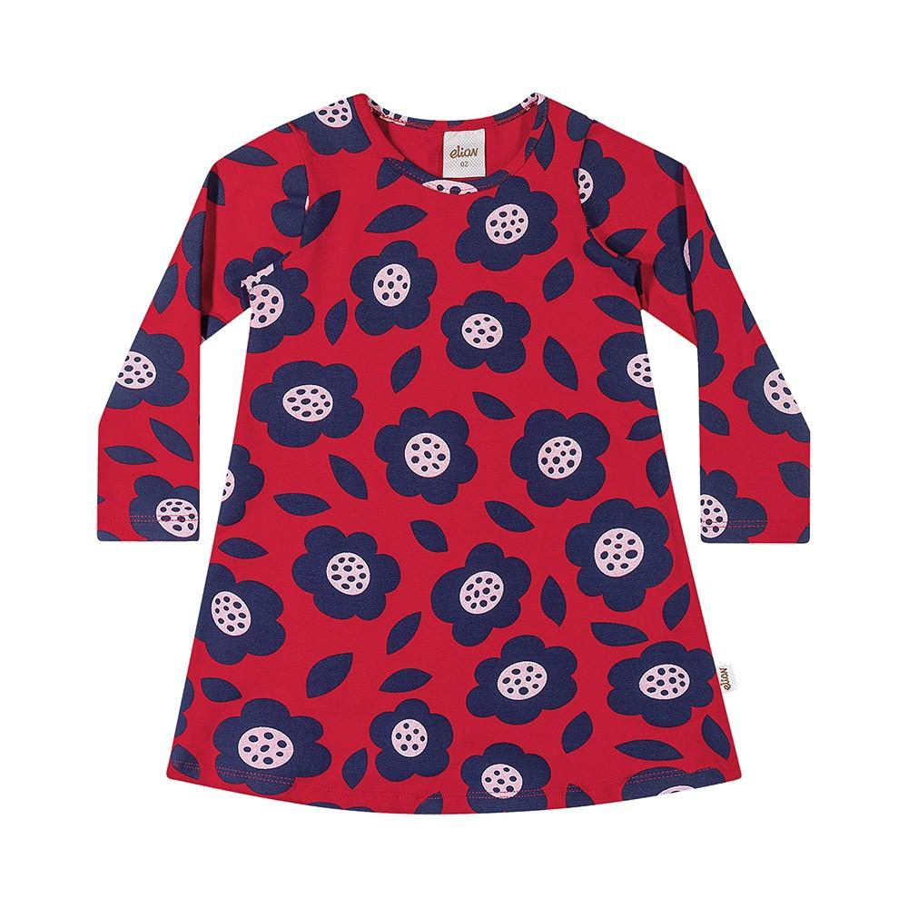 Vestido em Cotton Flores Vermelho