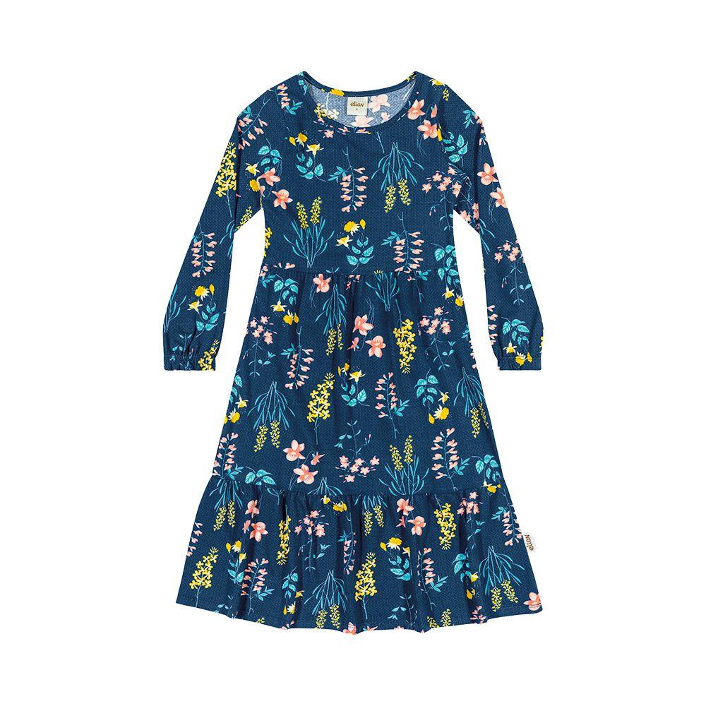 Vestido Floral Midi Azul