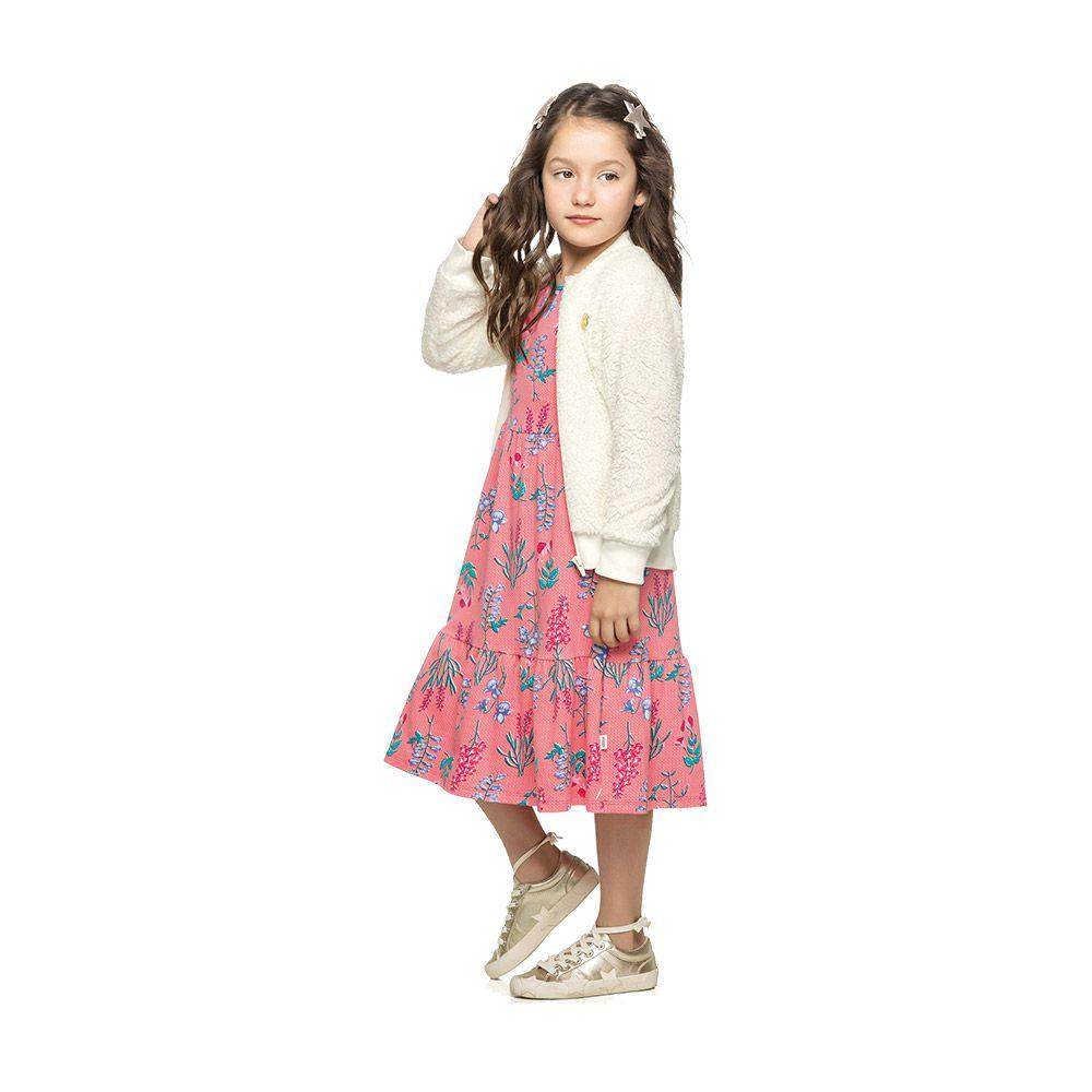 Vestido Floral Midi Rosa