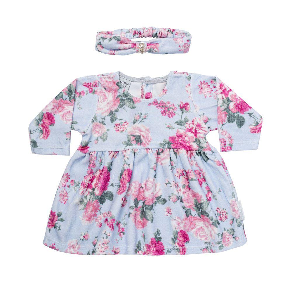 Vestido Flower Baby Com Faixinha de Cabelo em mesmo tecido
