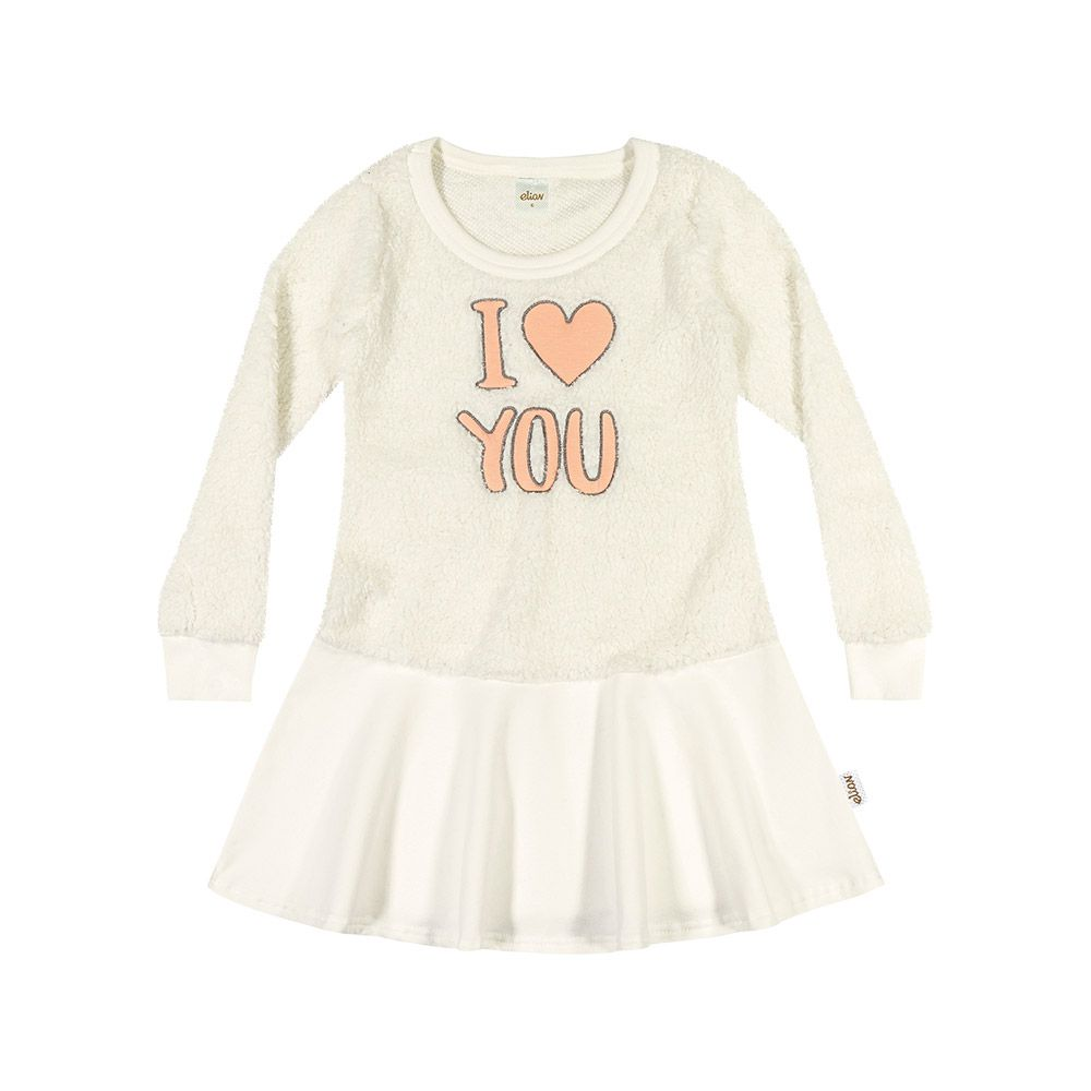 Vestido I Love You Creme