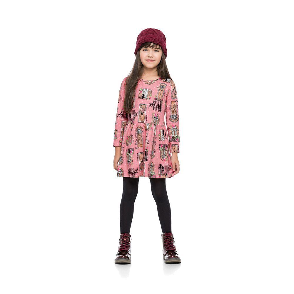 Vestido Janelas rosa