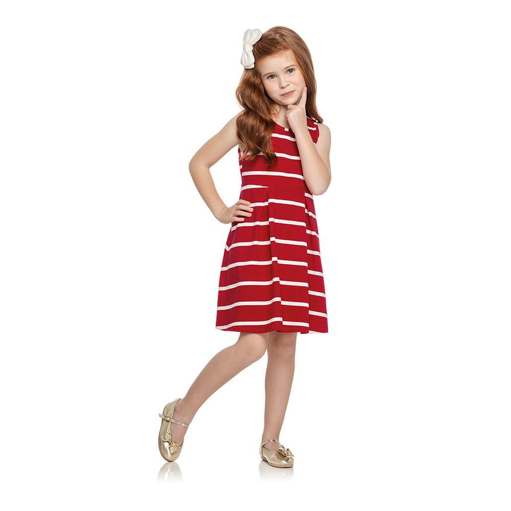 Vestido Listras Chic Vermelho