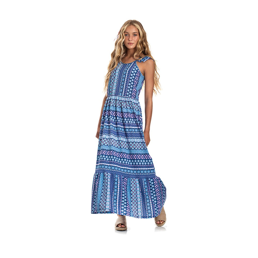 Vestido Longo Etnico Azul
