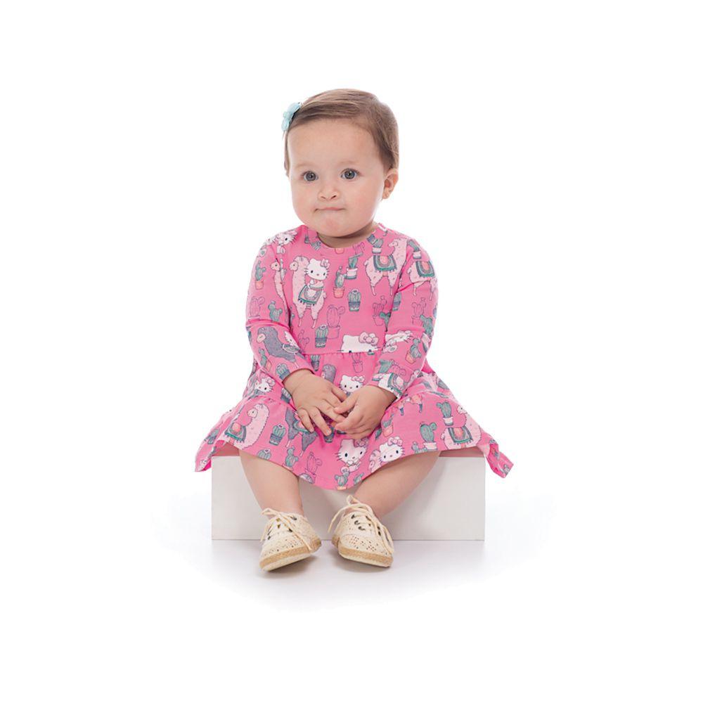 a5da20b75b Vestido Manga Longa hello Kitty Baby Rosa - Infantilitá