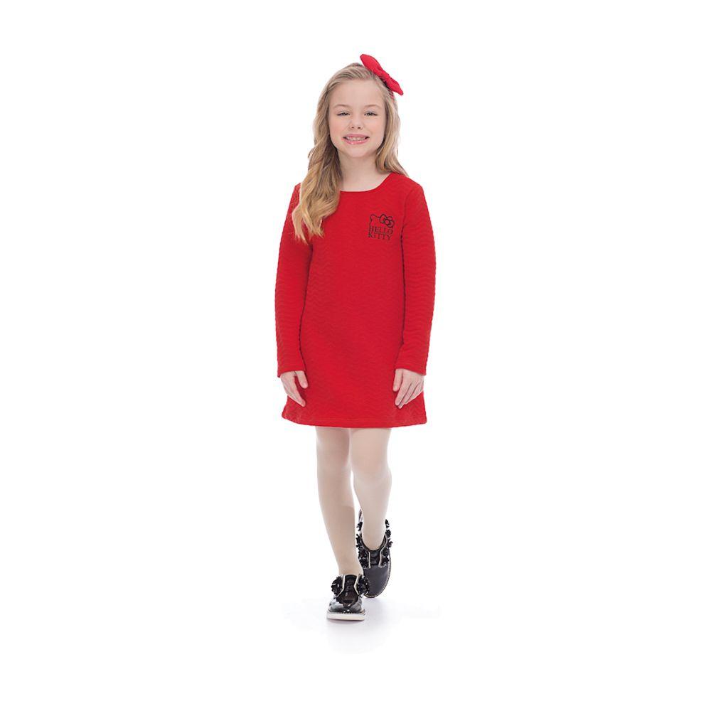 Vestido Matelassê Hello Kitty Vermelho