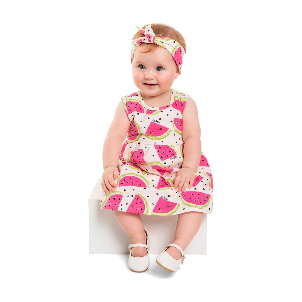 Vestido Melancia rosa com Faixinha de cabelo