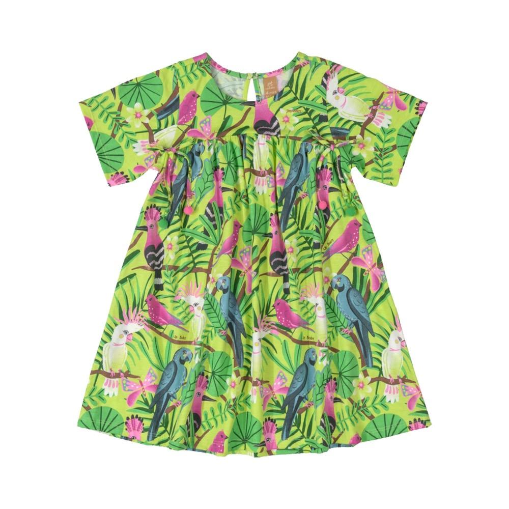 Vestido Pássaros Verde Up Baby