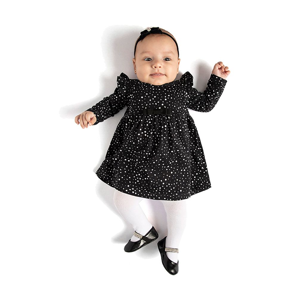 Vestido Poá  com Meia Calça de Algodão